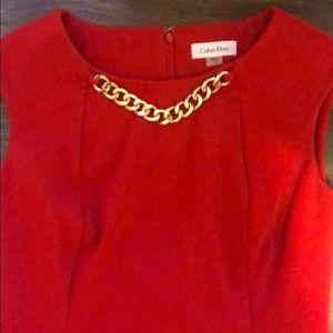 💙EUC Calvin Klein Sheath Dress with Gold Chain💙
